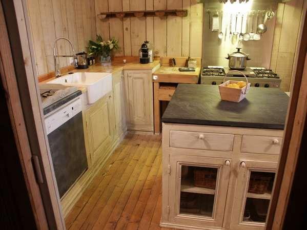 Cuisine ardoise et bois console meuble table bahut casier for Deco cuisine zinc